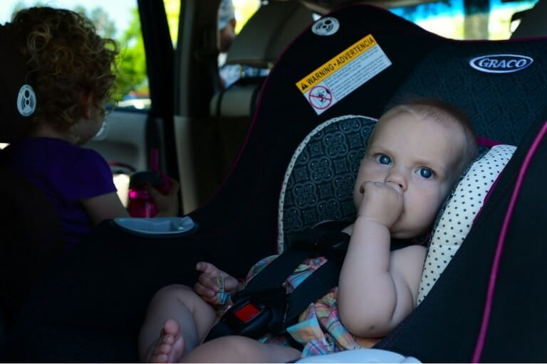 rear-facing car seat and child