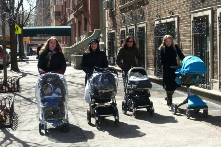 mums with baby strollers
