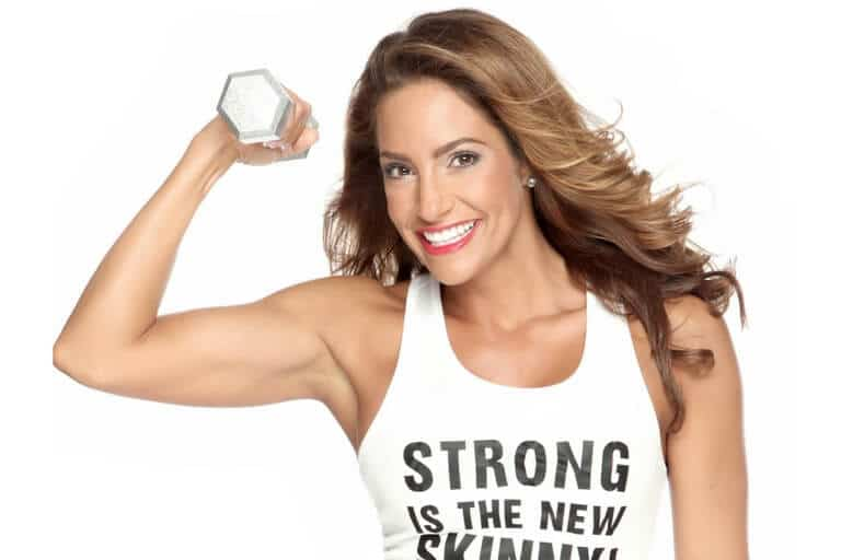 fit mom with a dumbbell